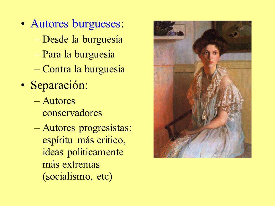 Autores burgueses: –Desde la burguesía –Para la burguesía –Contra la burguesía Separación: –Autores conservadores –Autores progresistas: espíritu más