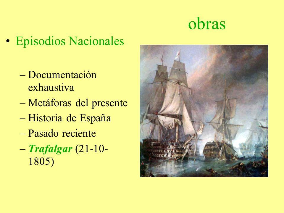 obras Episodios Nacionales –Documentación exhaustiva –Metáforas del presente –Historia de España –Pasado reciente –Trafalgar (21-10- 1805)