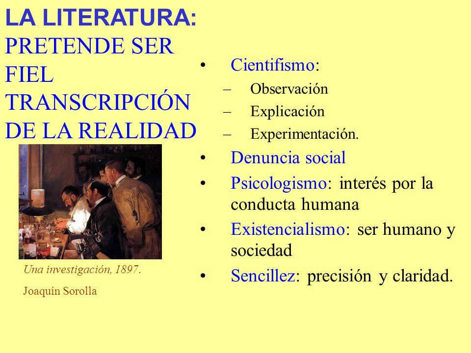 Cientifismo: –Observación –Explicación –Experimentación. Denuncia social Psicologismo: interés por la conducta humana Existencialismo: ser humano y so