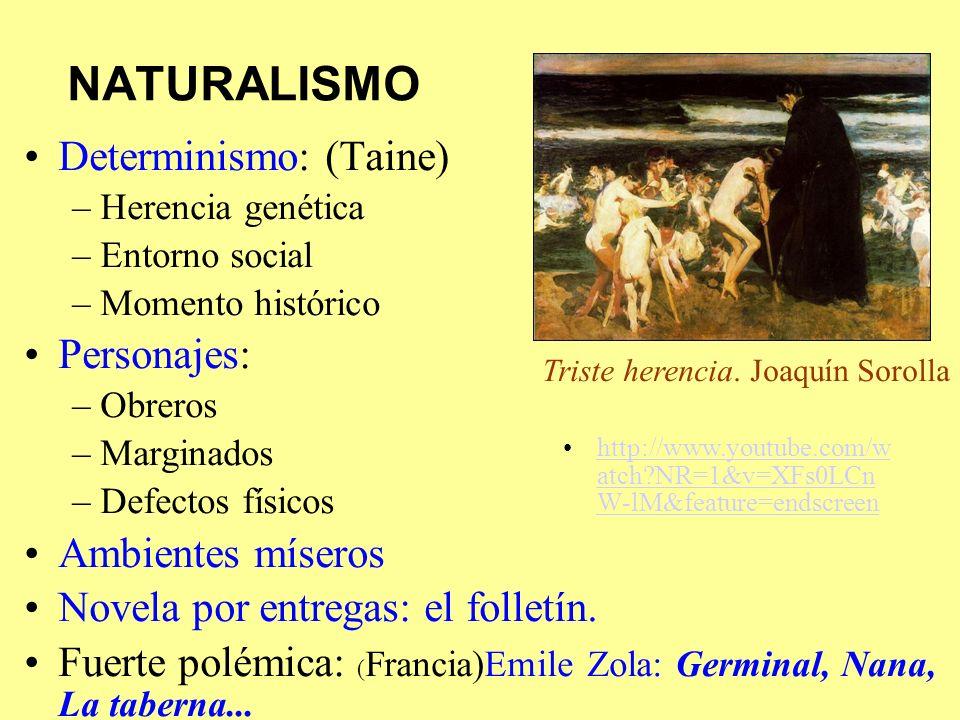NATURALISMO Determinismo: (Taine) –Herencia genética –Entorno social –Momento histórico Personajes: –Obreros –Marginados –Defectos físicos Ambientes m