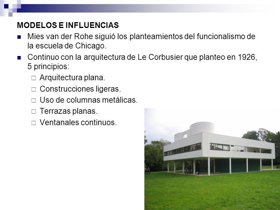 MODELOS E INFLUENCIAS Mies van der Rohe siguió los planteamientos del funcionalismo de la escuela de Chicago. Continuo con la arquitectura de Le Corbu