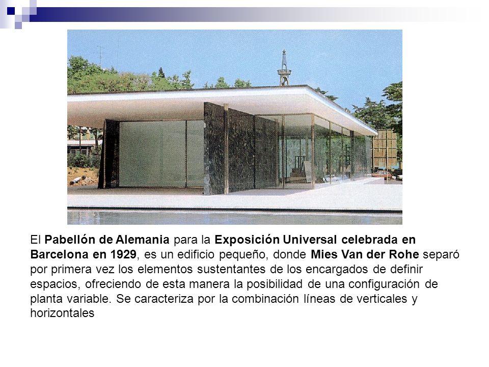 El Pabellón de Alemania para la Exposición Universal celebrada en Barcelona en 1929, es un edificio pequeño, donde Mies Van der Rohe separó por primer