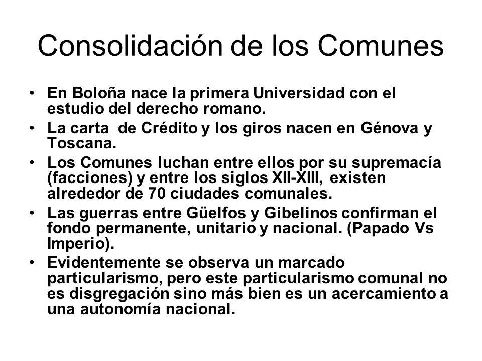 Consolidación de los Comunes En Boloña nace la primera Universidad con el estudio del derecho romano. La carta de Crédito y los giros nacen en Génova