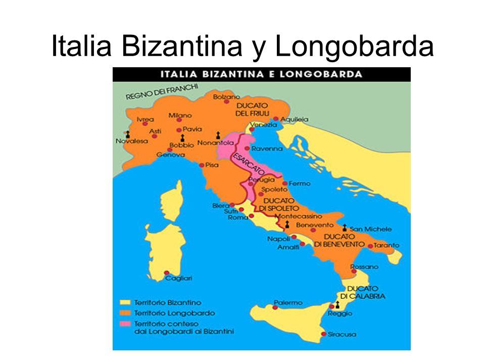 Los Longobardos y la nueva fragmentación de la península En el siglo VI inicia con la invasión de los Longobardos, pueblo escandinavo y su expansión se produce entre los siglos VI-VII por gran parte de la bota.