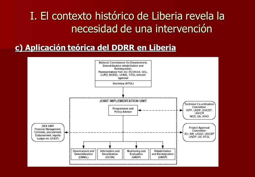 I. El contexto histórico de Liberia revela la necesidad de una intervención b) El Programa DDR Desarme Desmovilización Reintegración/ Rehabilitación