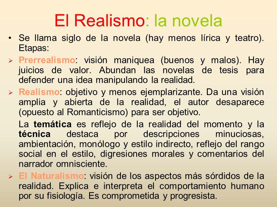 El Realismo: la novela Se llama siglo de la novela (hay menos lírica y teatro). Etapas: Prerrealismo: visión maniquea (buenos y malos). Hay juicios de