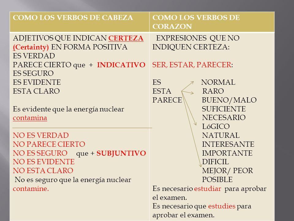 COMO LOS VERBOS DE CABEZACOMO LOS VERBOS DE CORAZON ADJETIVOS QUE INDICAN CERTEZA (Certainty) EN FORMA POSITIVA ES VERDAD PARECE CIERTO que + INDICATI
