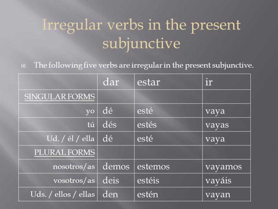 More Irregular verbs in the present subjunctive saberser SINGULAR FORMS yo sepasea tú sepasseas Ud.