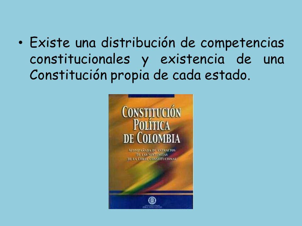 Existe una distribución de competencias constitucionales y existencia de una Constitución propia de cada estado.