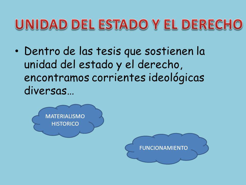 Dentro de las tesis que sostienen la unidad del estado y el derecho, encontramos corrientes ideológicas diversas… MATERIALISMO HISTORICO FUNCIONAMIENT