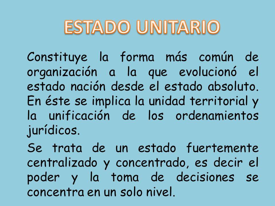 Constituye la forma más común de organización a la que evolucionó el estado nación desde el estado absoluto. En éste se implica la unidad territorial