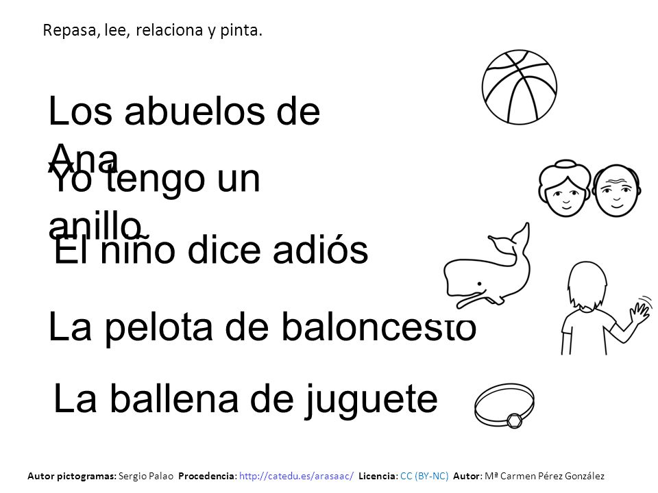 El niño dice adiós Los abuelos de Ana La pelota de baloncesto La ballena de juguete Repasa, lee, relaciona y pinta. Yo tengo un anillo Autor pictogram