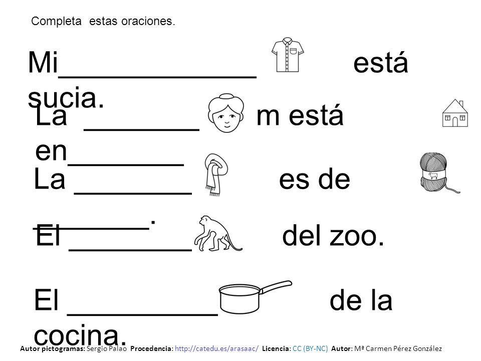 Mi____________ está sucia. El _________ del zoo. La _________ es de _______. La _________ m está en_______. El ___________ de la cocina. Completa esta