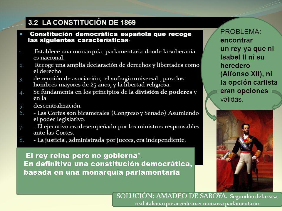 3.2 LA CONSTITUCIÓN DE 1869 PROBLEMA: encontrar un rey ya que ni Isabel II ni su heredero (Alfonso XII), ni la opción carlista eran opciones válidas.