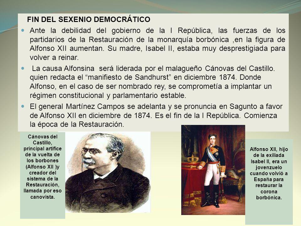 FIN DEL SEXENIO DEMOCRÁTICO Ante la debilidad del gobierno de la I República, las fuerzas de los partidarios de la Restauración de la monarquía borbón