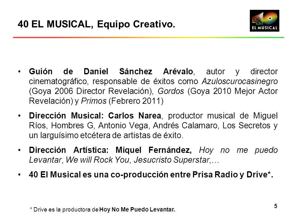 5 40 EL MUSICAL, Equipo Creativo. Guión de Daniel Sánchez Arévalo, autor y director cinematográfico, responsable de éxitos como Azuloscurocasinegro (G