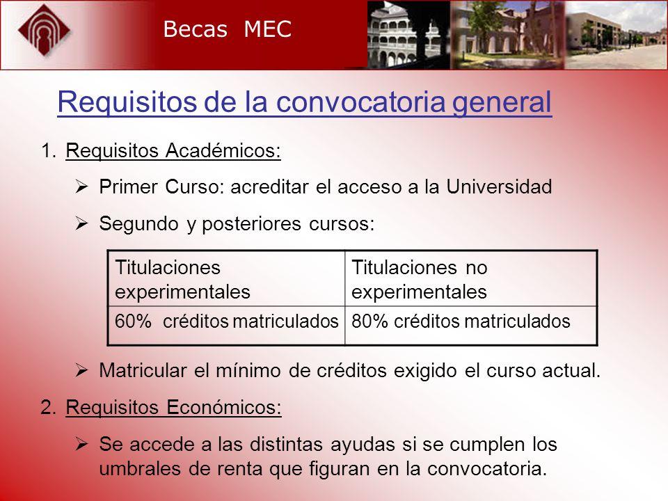 Becas MEC 1.Requisitos Académicos: Primer Curso: acreditar el acceso a la Universidad Segundo y posteriores cursos: Matricular el mínimo de créditos e