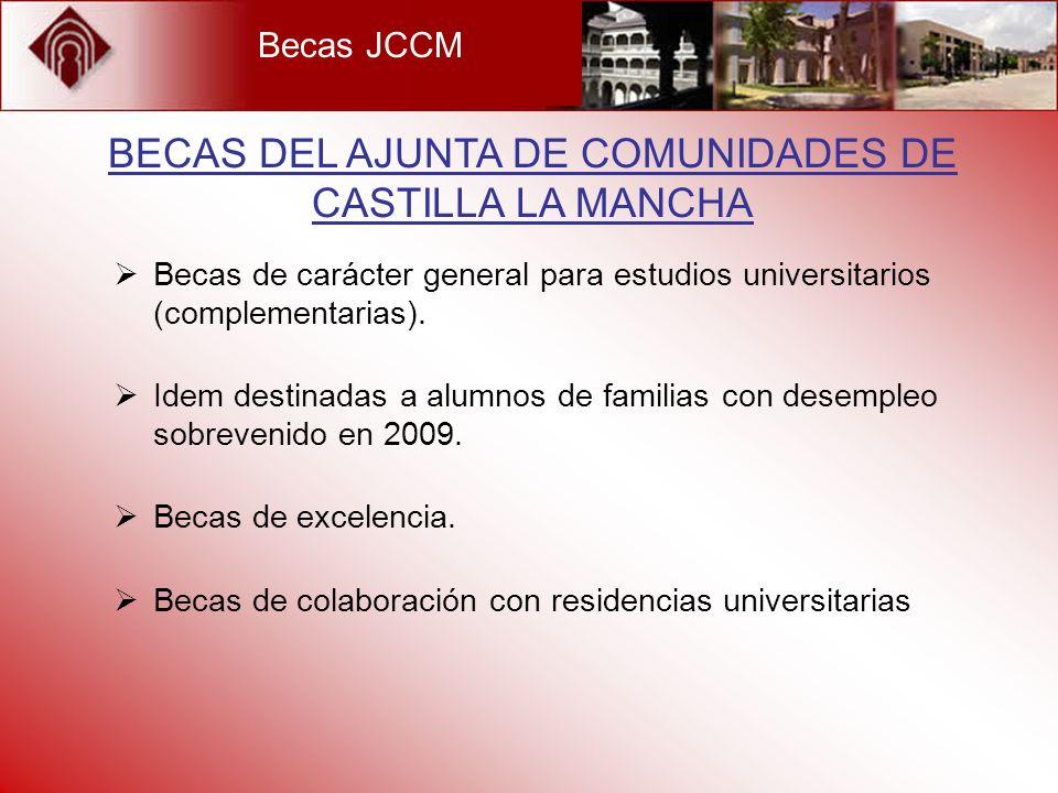 Becas JCCM Becas de carácter general para estudios universitarios (complementarias). Idem destinadas a alumnos de familias con desempleo sobrevenido e