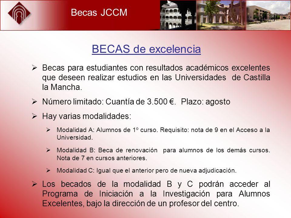 Becas JCCM Becas para estudiantes con resultados académicos excelentes que deseen realizar estudios en las Universidades de Castilla la Mancha. Número