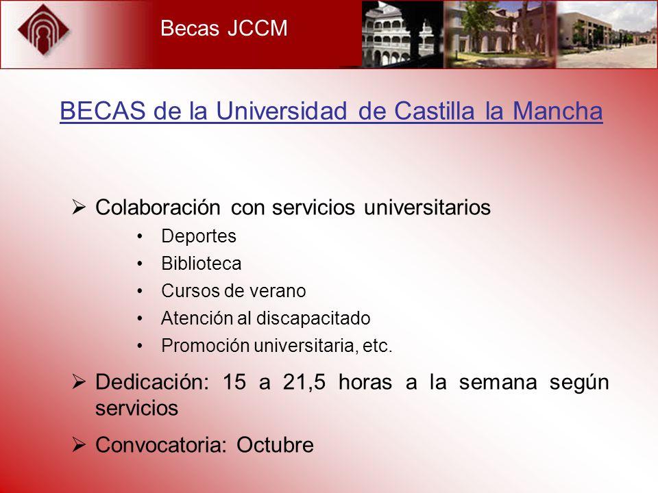 Becas JCCM Colaboración con servicios universitarios Deportes Biblioteca Cursos de verano Atención al discapacitado Promoción universitaria, etc. Dedi