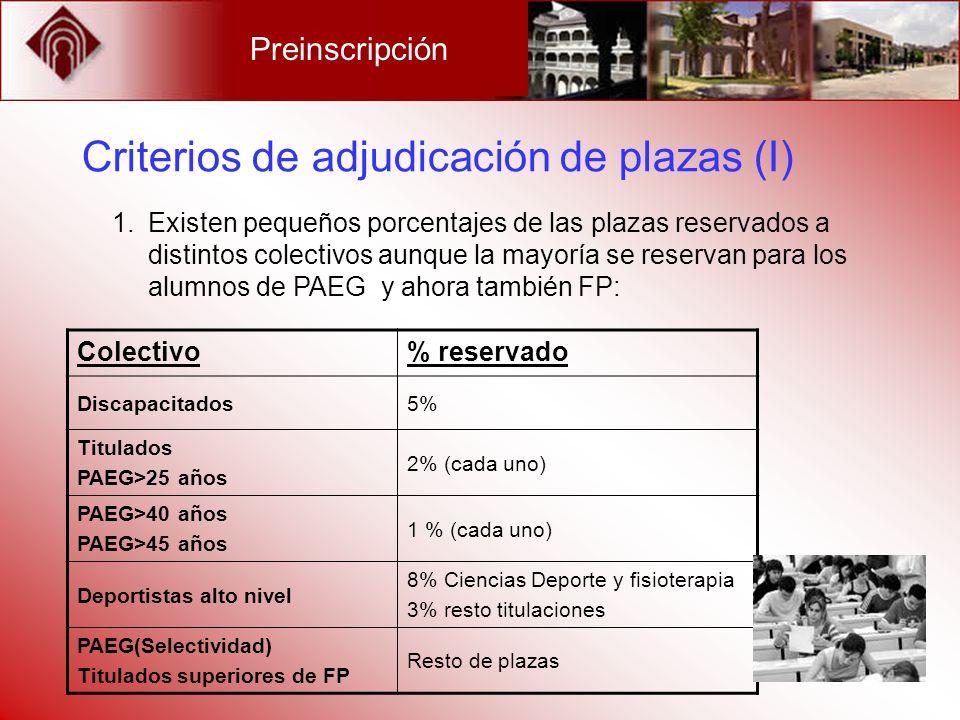 Criterios de adjudicación de plazas (I) 1.Existen pequeños porcentajes de las plazas reservados a distintos colectivos aunque la mayoría se reservan p