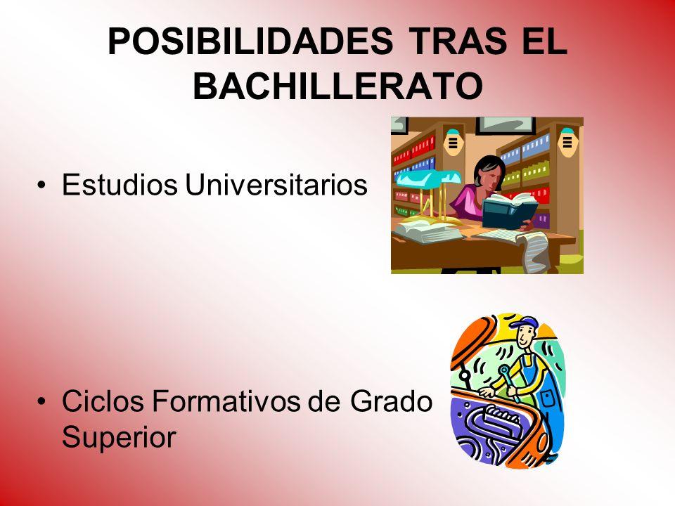POSIBILIDADES TRAS EL BACHILLERATO Estudios Universitarios Ciclos Formativos de Grado Superior