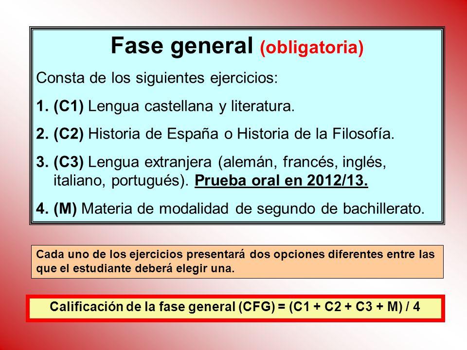 Fase general (obligatoria) Consta de los siguientes ejercicios: 1.(C1) Lengua castellana y literatura. 2.(C2) Historia de España o Historia de la Filo