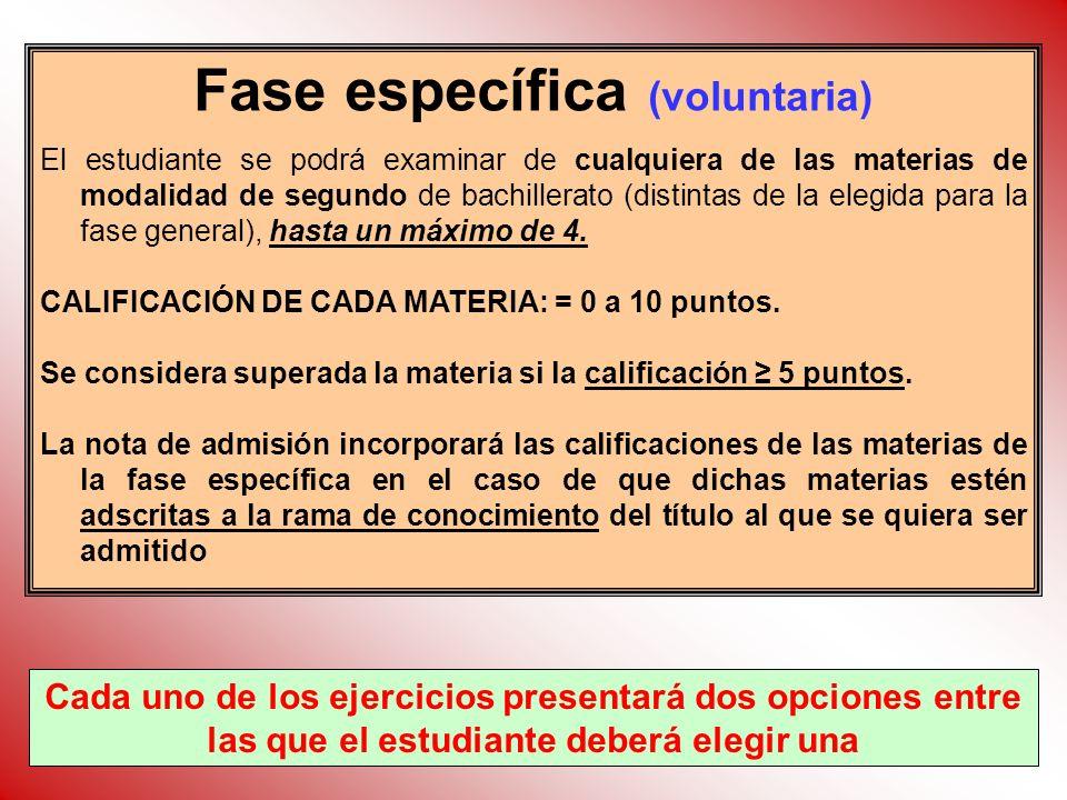 Fase específica (voluntaria) El estudiante se podrá examinar de cualquiera de las materias de modalidad de segundo de bachillerato (distintas de la el