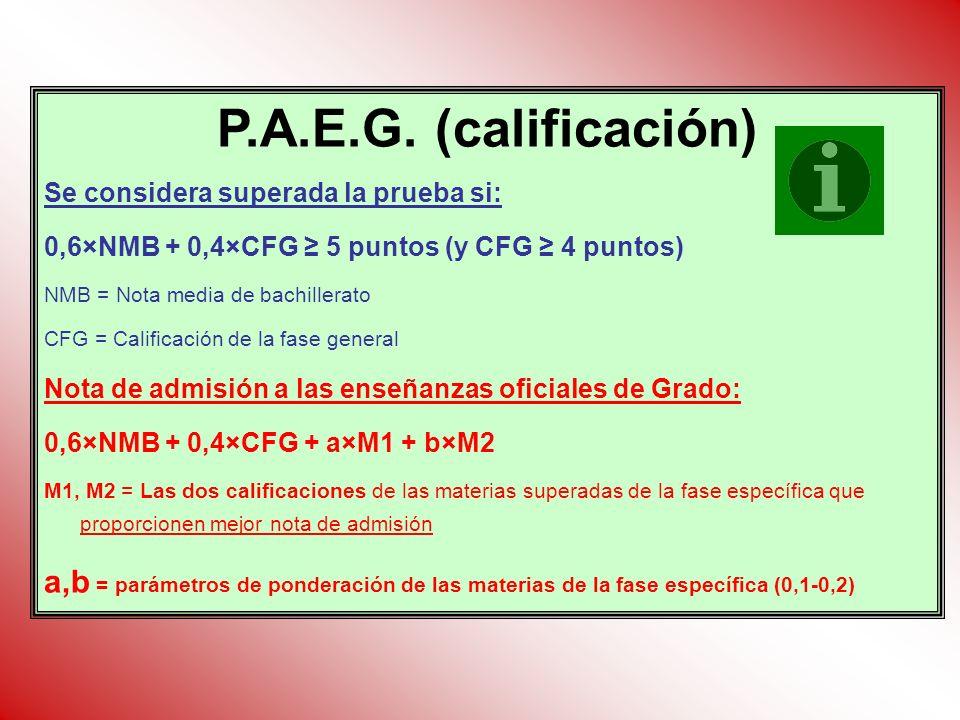 P.A.E.G. (calificación) Se considera superada la prueba si: 0,6×NMB + 0,4×CFG 5 puntos (y CFG 4 puntos) NMB = Nota media de bachillerato CFG = Calific