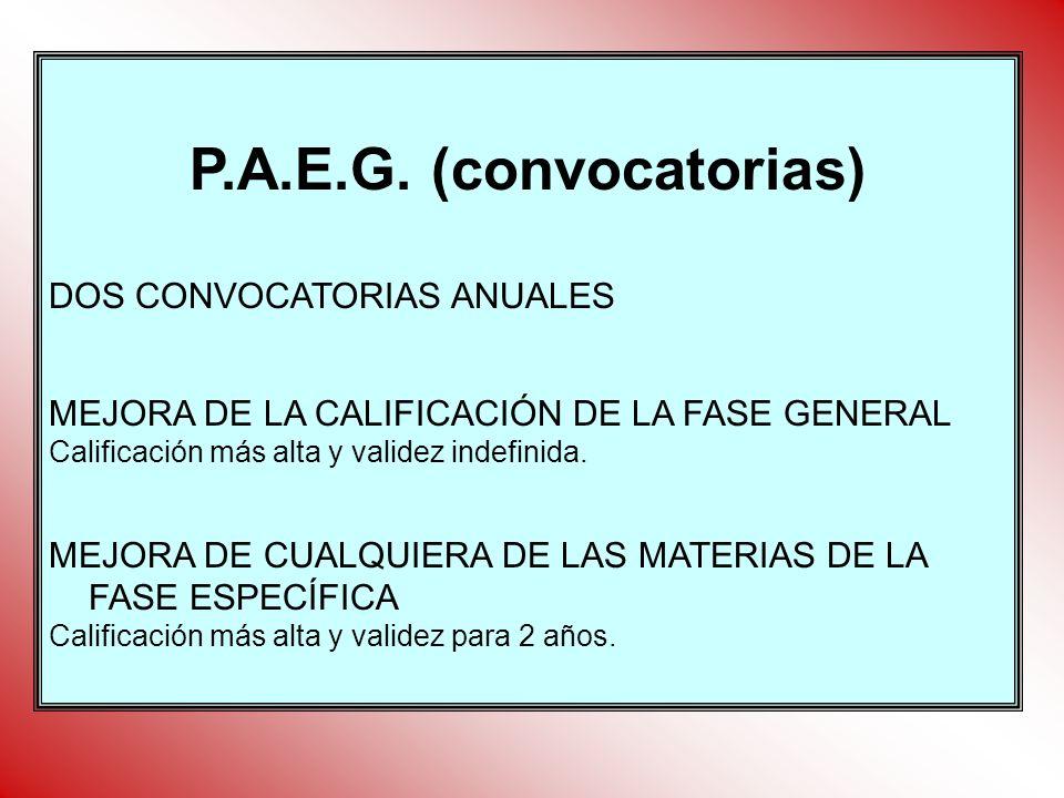 P.A.E.G. (convocatorias) DOS CONVOCATORIAS ANUALES MEJORA DE LA CALIFICACIÓN DE LA FASE GENERAL Calificación más alta y validez indefinida. MEJORA DE