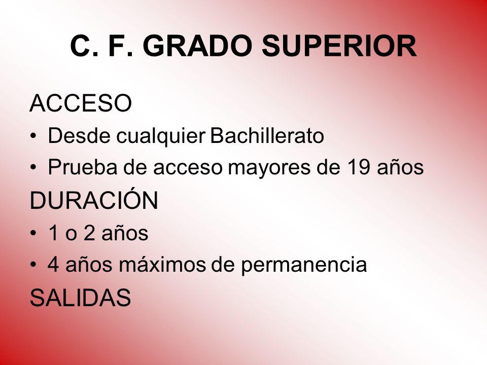 C. F. GRADO SUPERIOR ACCESO Desde cualquier Bachillerato Prueba de acceso mayores de 19 años DURACIÓN 1 o 2 años 4 años máximos de permanencia SALIDAS