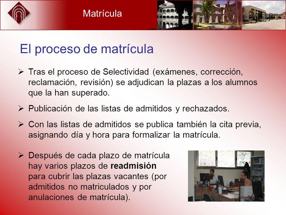 Matrícula El proceso de matrícula Tras el proceso de Selectividad (exámenes, corrección, reclamación, revisión) se adjudican la plazas a los alumnos q