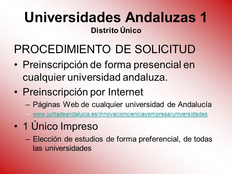Universidades Andaluzas 1 Distrito Único PROCEDIMIENTO DE SOLICITUD Preinscripción de forma presencial en cualquier universidad andaluza. Preinscripci