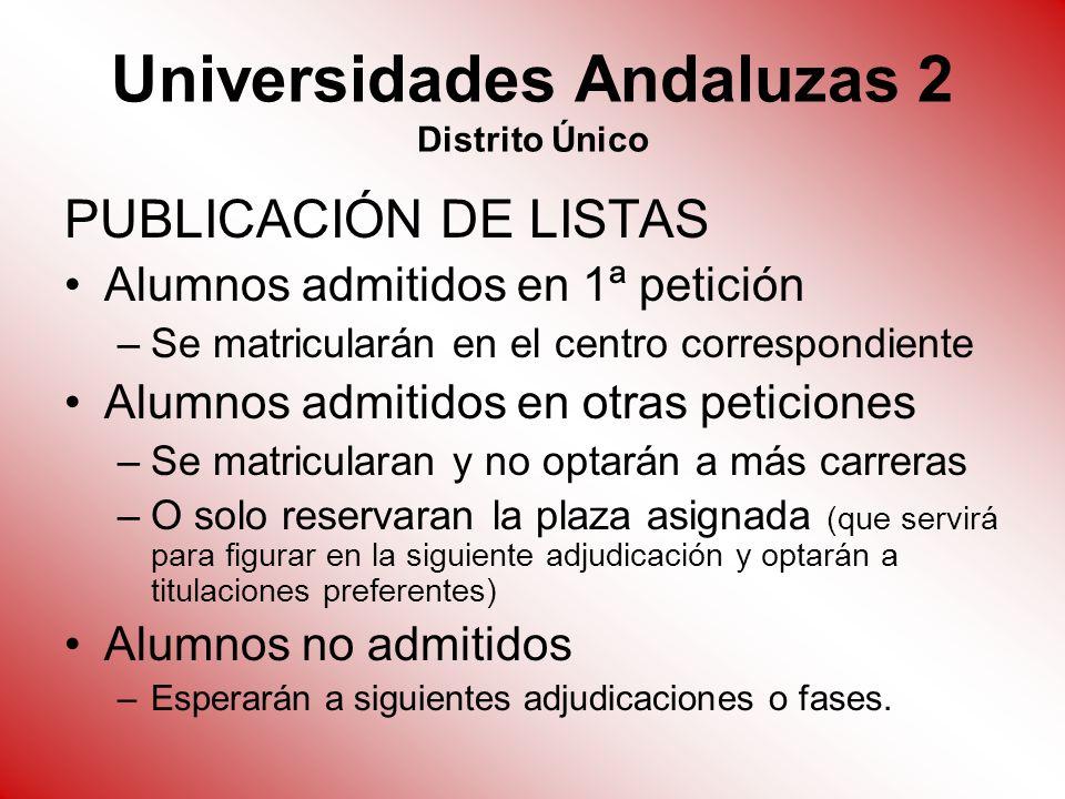 Universidades Andaluzas 2 Distrito Único PUBLICACIÓN DE LISTAS Alumnos admitidos en 1ª petición –Se matricularán en el centro correspondiente Alumnos