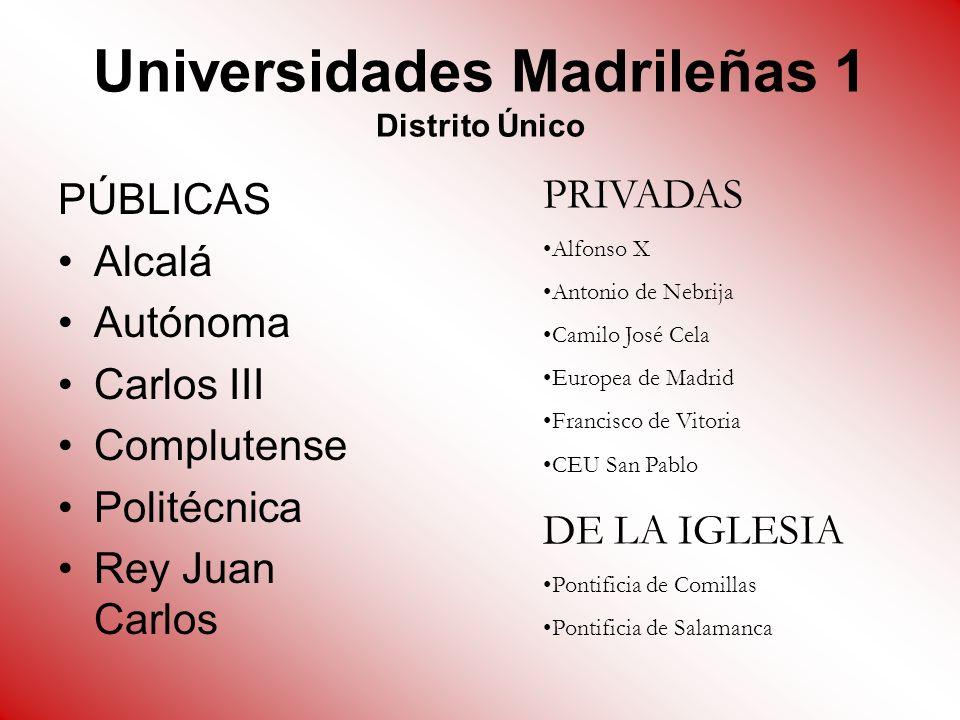 Universidades Madrileñas 1 Distrito Único PÚBLICAS Alcalá Autónoma Carlos III Complutense Politécnica Rey Juan Carlos PRIVADAS Alfonso X Antonio de Ne
