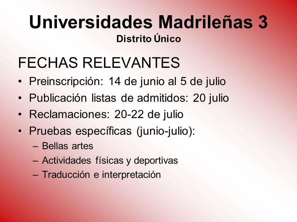 Universidades Madrileñas 3 Distrito Único FECHAS RELEVANTES Preinscripción: 14 de junio al 5 de julio Publicación listas de admitidos: 20 julio Reclam