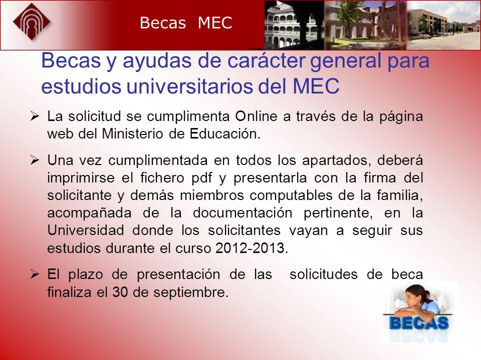 Becas MEC La solicitud se cumplimenta Online a través de la página web del Ministerio de Educación. Una vez cumplimentada en todos los apartados, debe