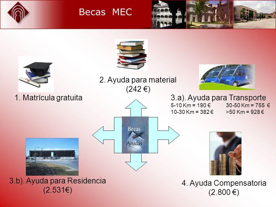 Becas MEC 1. Matrícula gratuita 2. Ayuda para material (242 ) 3.a). Ayuda para Transporte 5-10 Km = 190 30-50 Km = 755 10-30 Km = 382 >50 Km = 928 3.b