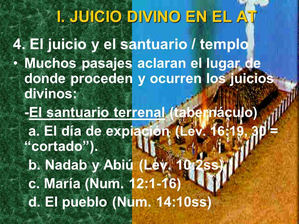 I. JUICIO DIVINO EN EL AT -Daniel 12:1-4 describe los resultados del juicio previo al advenimiento. El clímax del libro no es el juicio, sino la manif