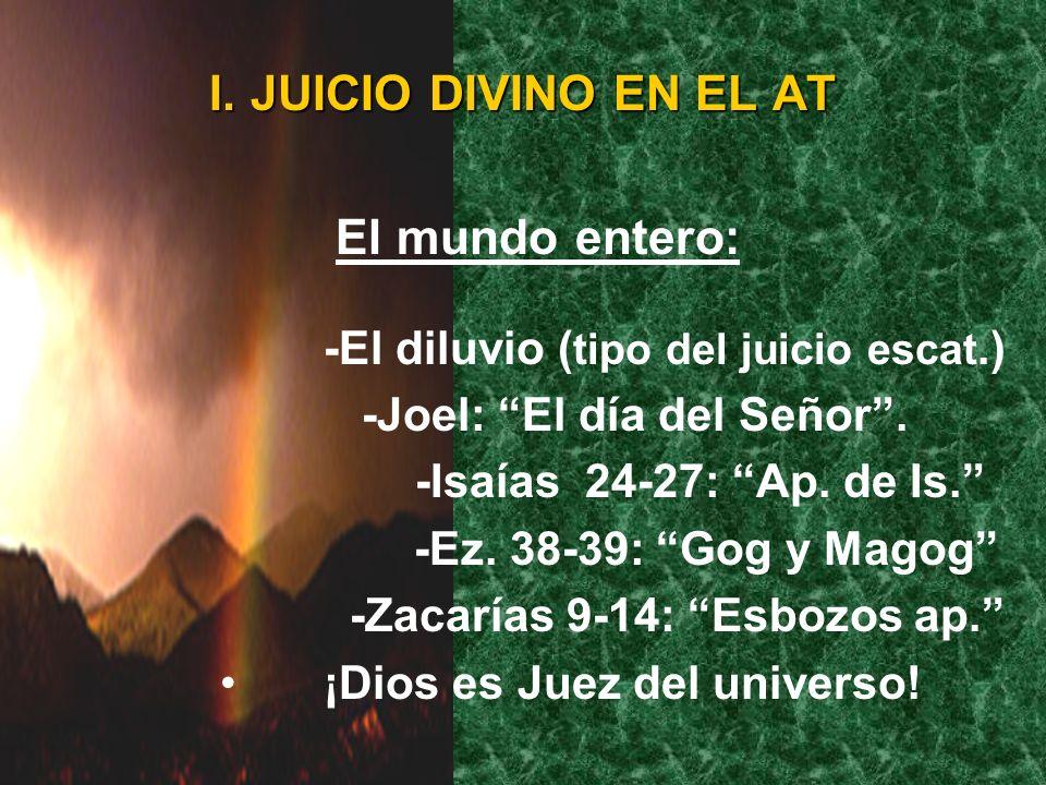 I. JUICIO DIVINO EN EL AT Casos individuales: -Elí (1 Sam. 3:11-14) -Nadab y Abiú (Lev. 10:1-2). -Ananías y Safira (Hc. 5:1-10) Ez. 34:17: Responsabil