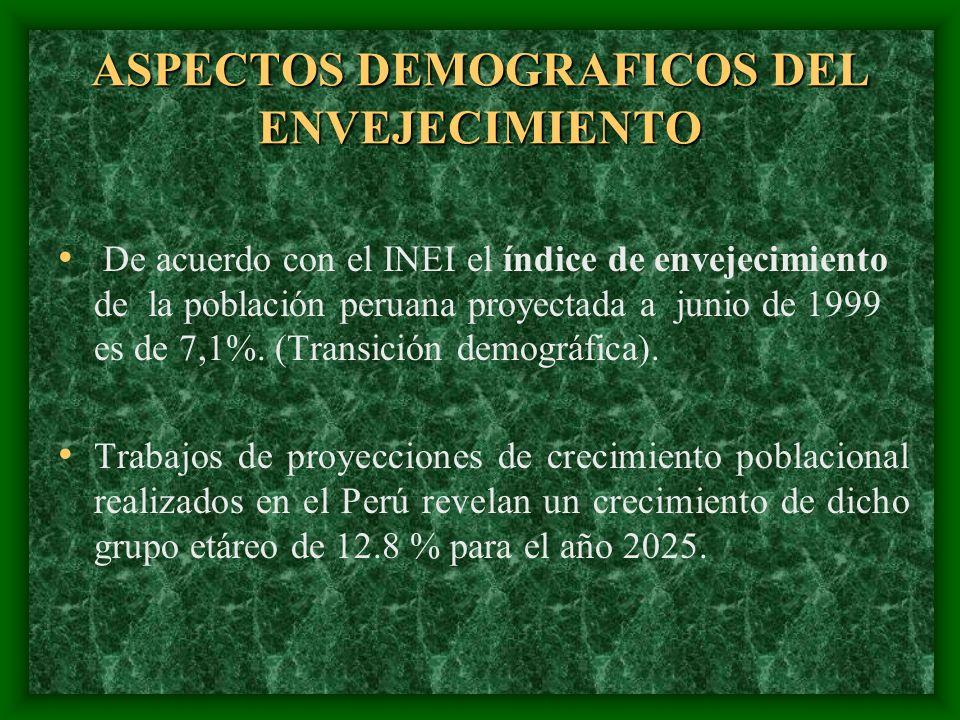 ASPECTOS DEMOGRAFICOS DEL ENVEJECIMIENTO De acuerdo con el INEI el índice de envejecimiento de la población peruana proyectada a junio de 1999 es de 7
