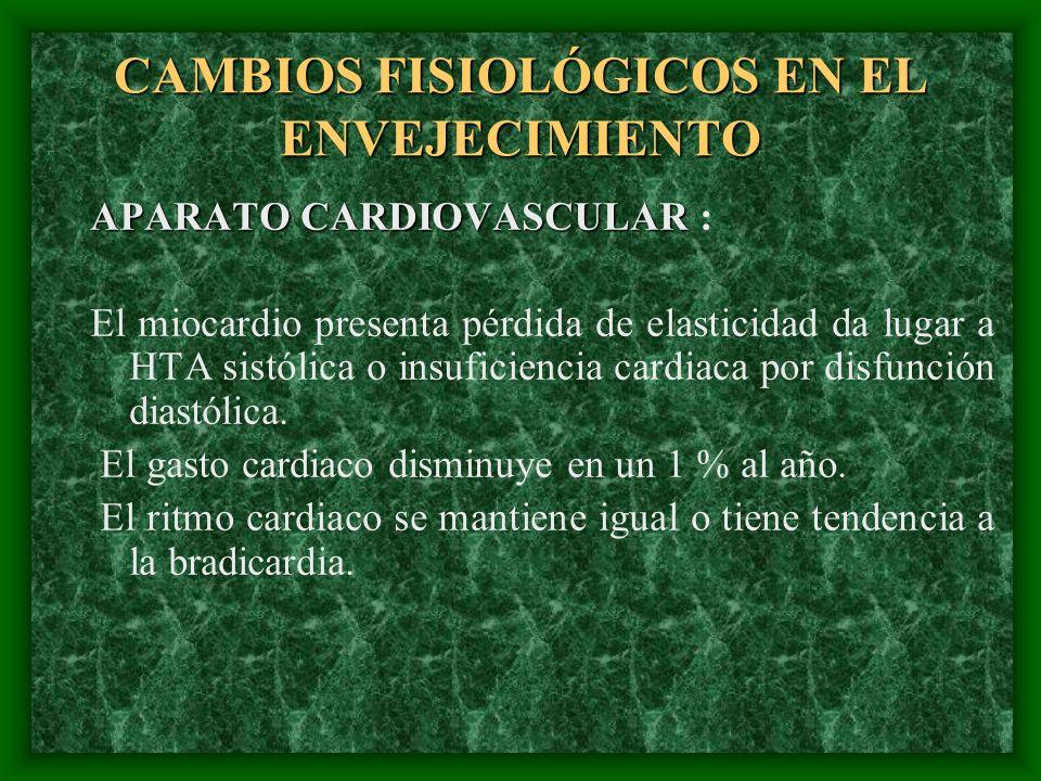CAMBIOS FISIOLÓGICOS EN EL ENVEJECIMIENTO APARATO CARDIOVASCULAR APARATO CARDIOVASCULAR : El miocardio presenta pérdida de elasticidad da lugar a HTA