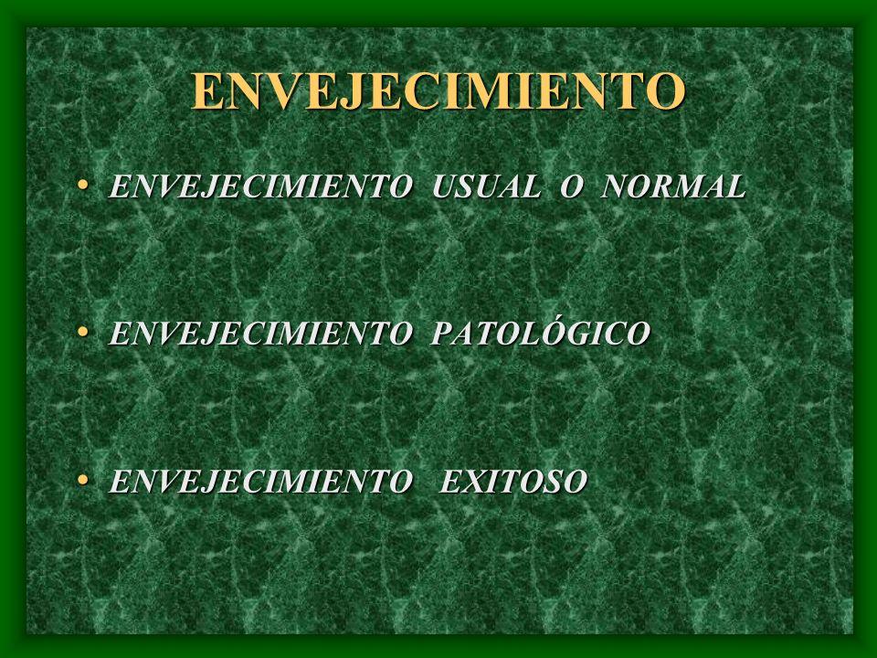 ENVEJECIMIENTO ENVEJECIMIENTO USUAL O NORMAL ENVEJECIMIENTO USUAL O NORMAL ENVEJECIMIENTO PATOLÓGICO ENVEJECIMIENTO PATOLÓGICO ENVEJECIMIENTO EXITOSO