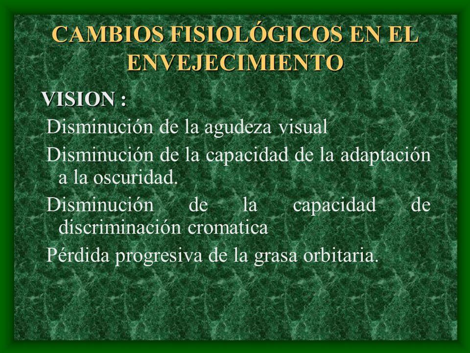 CAMBIOS FISIOLÓGICOS EN EL ENVEJECIMIENTO VISION : VISION : Disminución de la agudeza visual Disminución de la capacidad de la adaptación a la oscurid