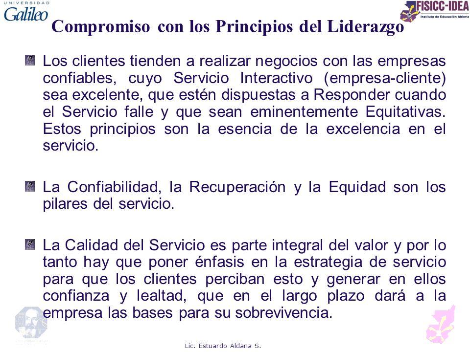 Compromiso con los Principios del Liderazgo Los clientes tienden a realizar negocios con las empresas confiables, cuyo Servicio Interactivo (empresa-c