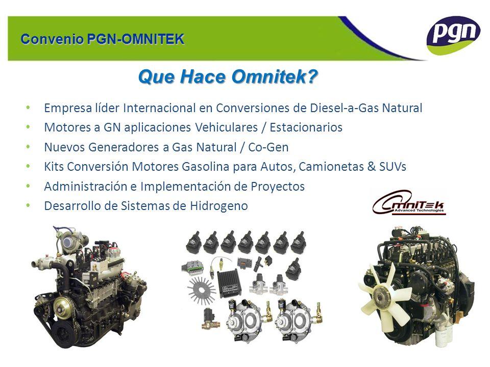 Ejemplo de Estructura: EUFASA Convenio PGN-OMNITEK Que Hace Omnitek? Empresa líder Internacional en Conversiones de Diesel-a-Gas Natural Motores a GN