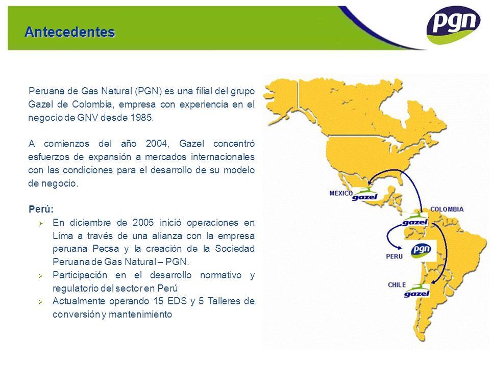 Antecedentes Peruana de Gas Natural (PGN) es una filial del grupo Gazel de Colombia, empresa con experiencia en el negocio de GNV desde 1985. A comien