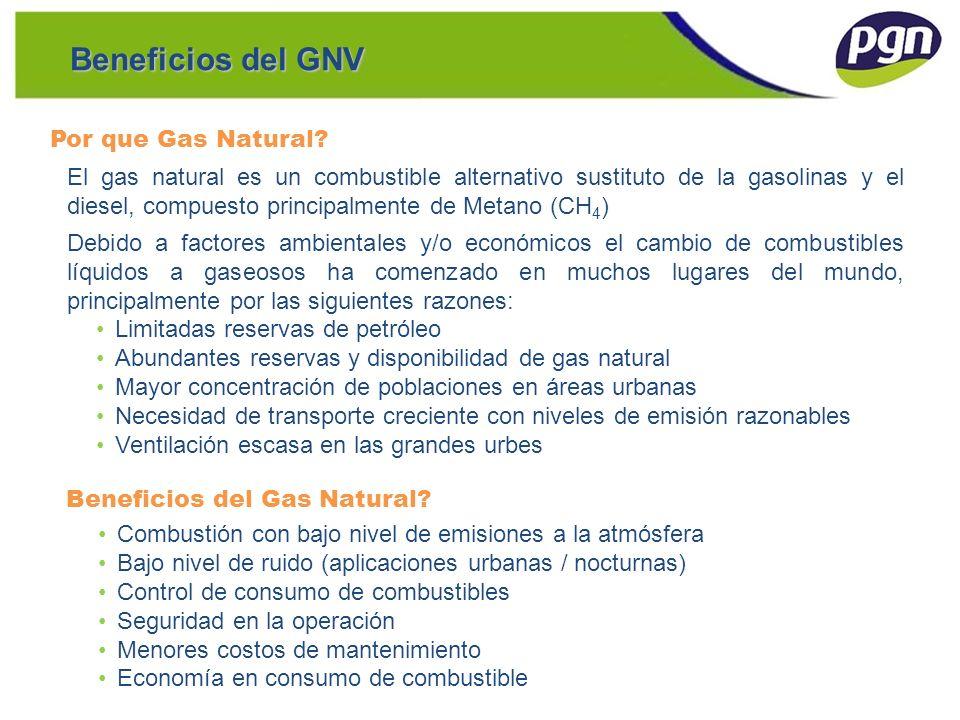 Beneficios del GNV El gas natural es un combustible alternativo sustituto de la gasolinas y el diesel, compuesto principalmente de Metano (CH 4 ) Debi