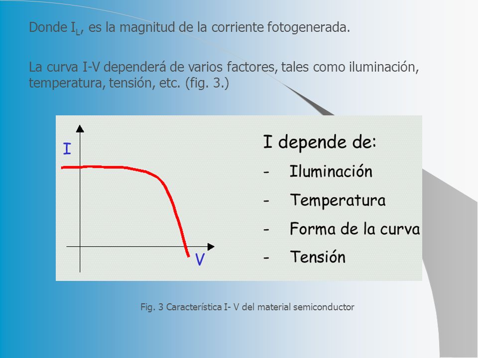 Donde I L, es la magnitud de la corriente fotogenerada. La curva I-V dependerá de varios factores, tales como iluminación, temperatura, tensión, etc.