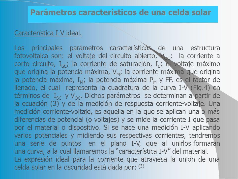 La expresión ideal para la corriente que atraviesa la unión de una celda solar en la oscuridad está dada por: (3) Donde R S, es la resistencia en serie de la celda; R P, es la resistencia en paralelo; K, es la constante de Boltzman; T, es la temperatura en grados Kelvin; I 0, es la corriente inversa de saturación; A, es la constante de idealidad del diodo; e, es la carga eléctrica del electrón y V es al potencial aplicado.